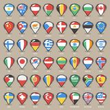 Set of Cartoon Map Pointers With World States Flags Stock Image