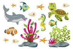 Set of cartoon marine animals Royalty Free Stock Photography