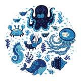 Set of cartoon marine animals in round frame Royalty Free Stock Image