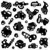 Set of cartoon mechanisms silhouettes Stock Photography