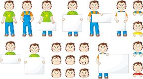 Set of cartoon men with cards Stock Images