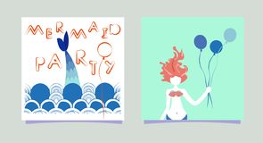 Set of Cartoon Mermaid girl with balloons. Inscription Mermaid party. Summer time siren with hair print cards party stock illustration