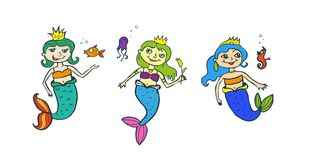 A set of cartoon  mermaid Royalty Free Stock Images