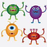 Set of cartoon microbes. Royalty Free Stock Photography