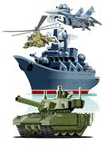 Set of cartoon military equipment. For 23 February schedule for decoration flyers or greeting cards. Translation: February 23 Defender of the Fatherland Day Royalty Free Stock Image