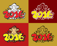 Set of cartoon monkey happy new year 2016. For design Royalty Free Stock Images