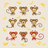Set of cartoon monkeys. 2016 New Year Symbol. Flat design, vector illustration Stock Image