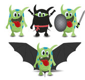 Set of Cartoon Monster Bat, Ninja and Warrior Royalty Free Stock Photography