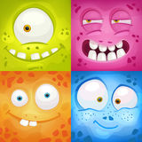 Set of cartoon monster faces Royalty Free Stock Photos