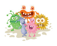 Set of Cartoon Monsters. Funny Smiling Germs. Royalty Free Stock Photo