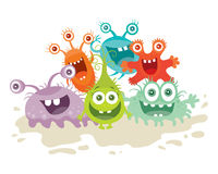Set of Cartoon Monsters. Funny Smiling Germs. Stock Images