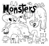 Set of cartoon monsters. vector illustration Stock Photography
