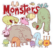 Set of cartoon monsters. vector illustration Stock Images