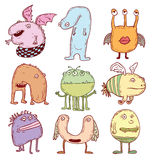Set of cartoon monsters. vector illustration. Stock Photo