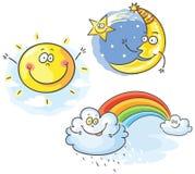 Set of cartoon moon, cloud and sun. No gradients royalty free illustration