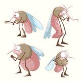 Set of cartoon mosquitoes Stock Image