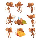 Set of cartoon mouse character in different actions. Running with sweep-net, sleeping, eating cheese, jumping, winking. Set of cartoon mouse character in Stock Photos