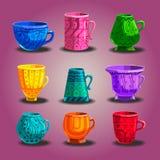 Set of  cartoon mugs. Stock Photography