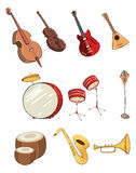 Set of cartoon musical instrumen Royalty Free Stock Photography