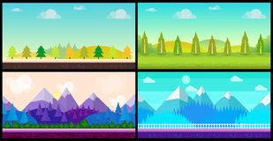 Set of 4 cartoon nature backgrounds and landscapes with different seasons. Beautiful vector illustrations for your Stock Images