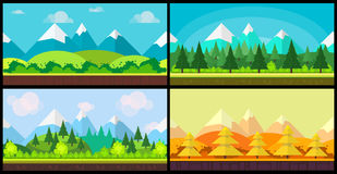 Set of 4 cartoon nature backgrounds and landscapes with different seasons. Beautiful vector illustrations for your Stock Photography
