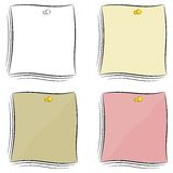 Set of  cartoon notes attached pushpin Stock Photography