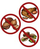 Set of cartoon nuts in the prohibition sign. Free from nuts. Ban on allergens. Allergy Alert. Badges with forbiddance. Vector element for recipes, menus vector illustration