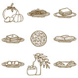 Set of cartoon objects on american food theme Stock Photos