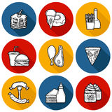 Set of cartoon objects on american food theme Stock Images