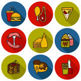 Set of cartoon objects on american food theme Royalty Free Stock Photography