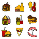 Set of cartoon objects on american food theme Stock Image