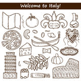 Set of cartoon objects in hand drawn outline style Stock Image