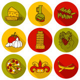 Set of cartoon objects in hand drawn style on Stock Image