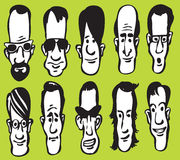 Set of cartoon oblong faces Stock Photo