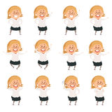 Set of cartoon office women Royalty Free Stock Images