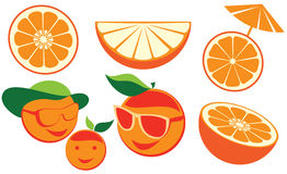 Set of cartoon Oranges. Simple oranges whole, half and slice Royalty Free Stock Photo