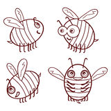 Set cartoon outline cute bees isolated on white background vecto Stock Photography