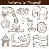 Set of cartoon outline objects in hand drawn style Stock Images