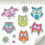 Set of cartoon owls Stock Photos