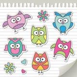 Set of cartoon owls Stock Photos