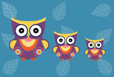 Set of cartoon owls on blue background ,Vector illustrations Stock Photo