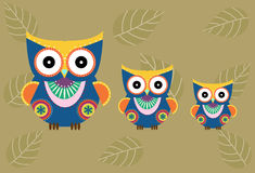 Set of cartoon owls on brown background ,Vector illustrations Royalty Free Stock Photos