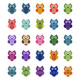 Set of cartoon owls,  illustration Stock Image