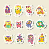 Set of cartoon owls stickers Stock Photography