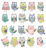 Vector Cartoon owls. Set of cartoon owls with various emotions Royalty Free Stock Image