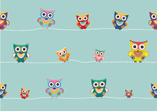 Set of cartoon owls on white background ,Vector illustrations Stock Images