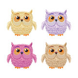 Set of cartoon owls for wisdom or education Stock Image