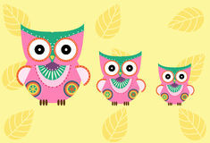 Set of cartoon owls on yellow background ,Vector illustrations Stock Image