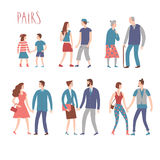 Set of cartoon pairs in various lifestyles and ages. Including businessman,  teenagers, children, seniors. Characters illustrations for your design Royalty Free Stock Photos