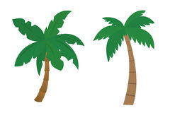 Set of cartoon palms with brown trunk and green leafs painted by flat design - vector illustration Stock Photo